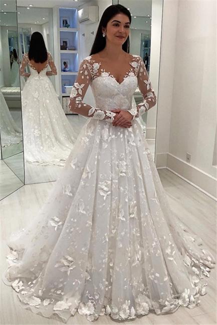 Robe de mariée A-ligne chic avec appliques | Robe de mariage manches longues