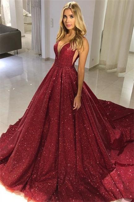 Robe de bal princesse pailletée chic | Robe de soirée princesse col en V