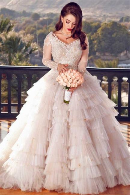 Robe de mariée princesse manches longues | Robe de mariage princesse élégante