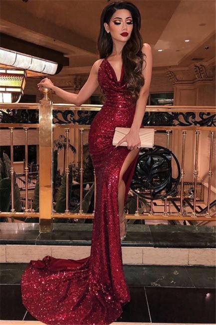 Robe de soirée sirène pailletée brillante | Robe de cérémonie trompette fendue devant