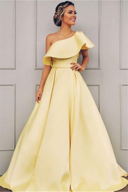 Robe de bal A-ligne épaules asymétriques | Robe de soirée ligne A moderne
