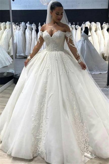 Robe de mariée princesse manches longues | Robe de mariage princesse épaules nues