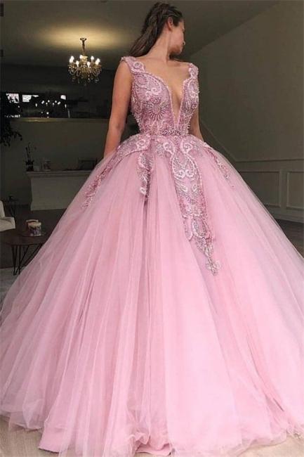 Robe de bal princesse tulle avec appliques | Robe de soirée princesse col en V