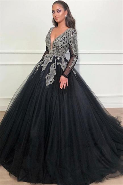Robe de bal princesse brillante col en V | Robe de soirée princesse manches longues