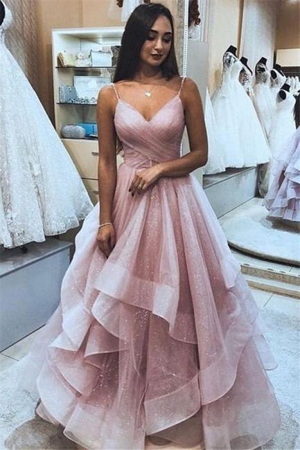 Robe de bal princesse bretelles fines | Robe de soirée princesse chic à volants