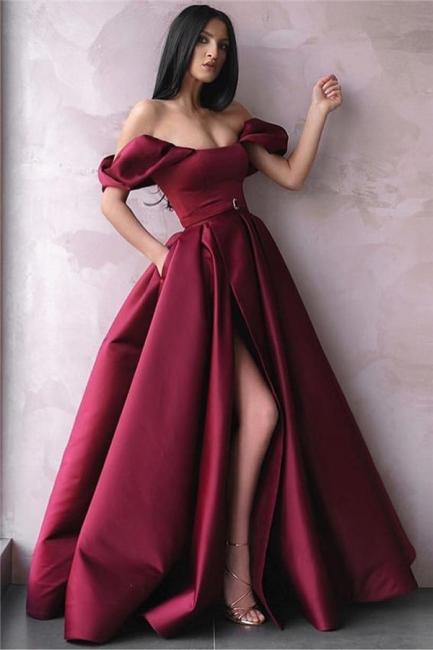 Robe de bal princesse fendue devant | Robe de soirée princesse épaules nues
