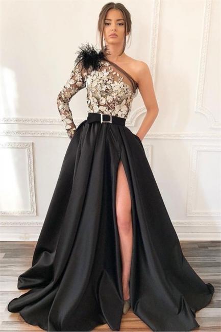 Robe de bal princesse épaules asymétriques | Robe de soirée princesse avec appliques