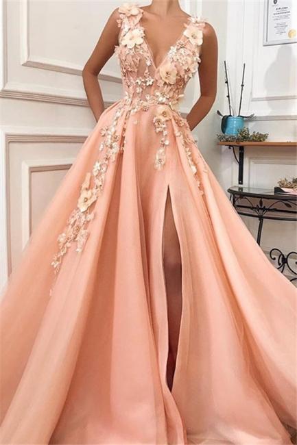 Robe de bal princesse chic avec appliques | Robe de soirée princesse col en V