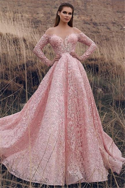 Robe de bal princesse dentelle délicate | Robe de soirée princesse manches longues