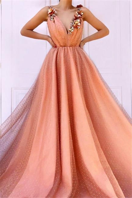 Robe de bal princesse chic avec fleurs | Robe de soirée princesse col en V