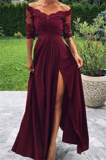 robe de soirée longue épaules nues en dentelle avec fente