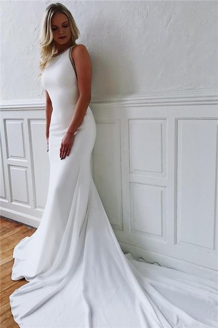 robe de mariée longue sirène trompette avec traîne