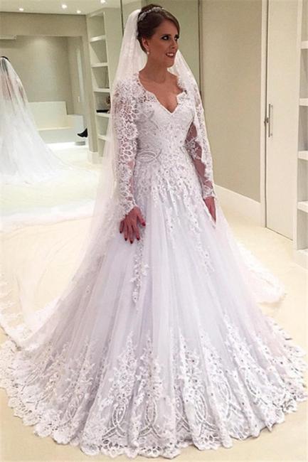 Forme Princesse Traîne moyenne Col en V Tulle Robes de mariée 2021 avec Appliques