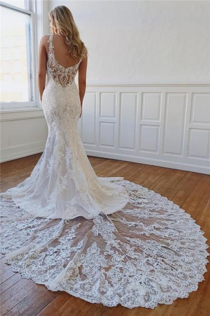 robe de mariée longue luxueux sirène en dentelle avec cristaux