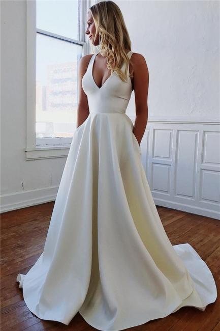 robe de mariée longue princesse col V avec poches