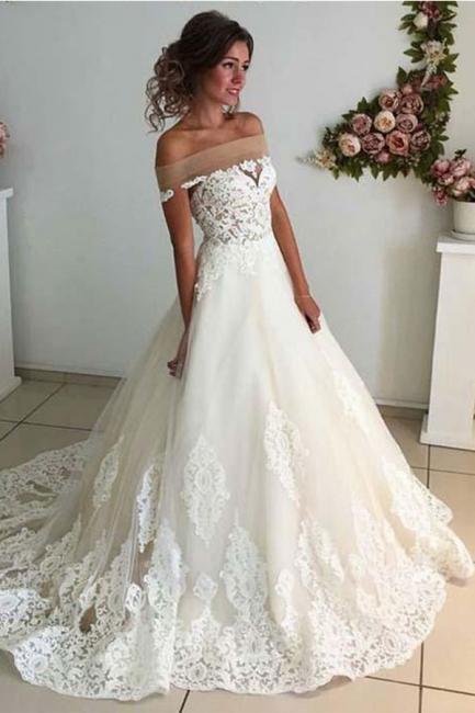 Robe de mariée princesse en tulle avec dentelle longue | robe de mariage élégante
