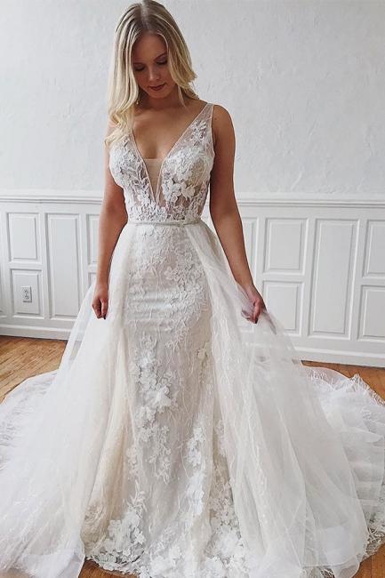 robe de mariée longue moulant en appliques dentelles avec traîne