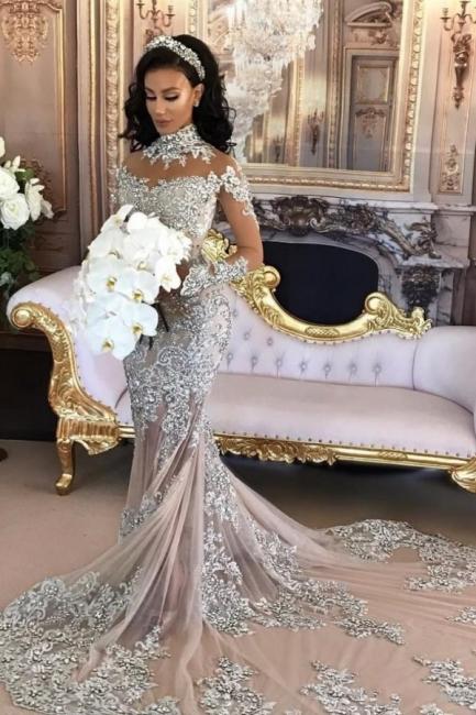 Forme Sirène/Trompette Traîne moyenne Col montant Dentelle Robes de mariée sirène avec Cristal
