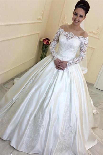 Forme Princesse alayage/Pinceau train Epaules nues Taffeta Robes de mariée 2020 avec Dentelle