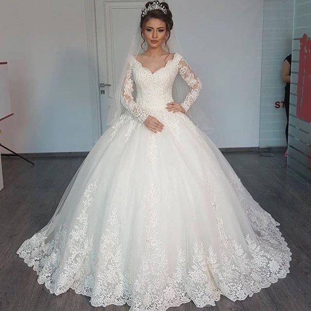 Forme Marquise Col en V Tulle Robes de mariée 2020 avec Appliques MH207