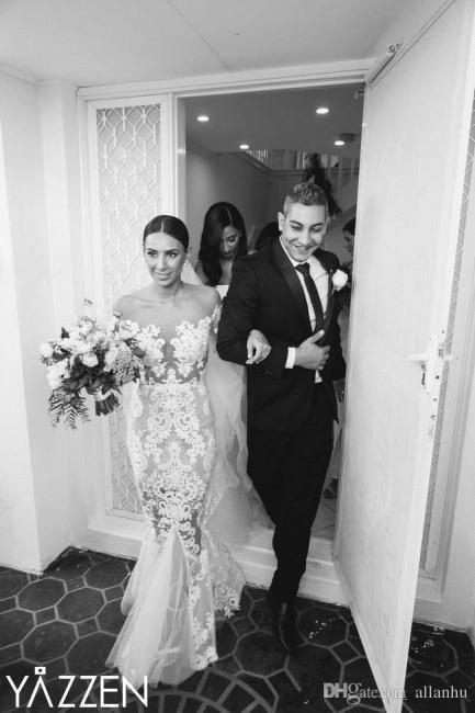 Forme Sirène/Trompette Traîne moyenne Tulle Robes de mariée 2020 avec Appliques