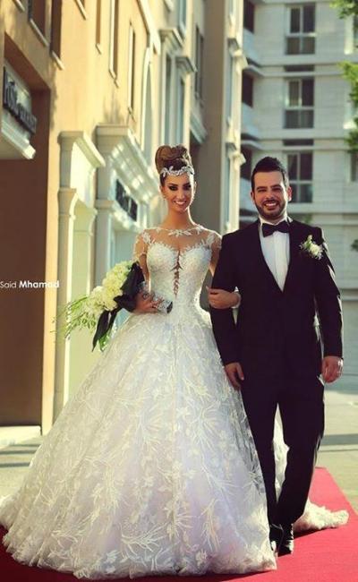 Forme Marquise Traîne moyenne Col U profond Dentelle 2020 Robes de mariée avec Dentelle