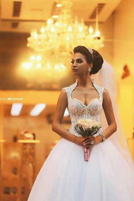 Forme Princesse Traîne moyenne Col en cœur Tulle 2021 Robes de mariée avec Dentelle