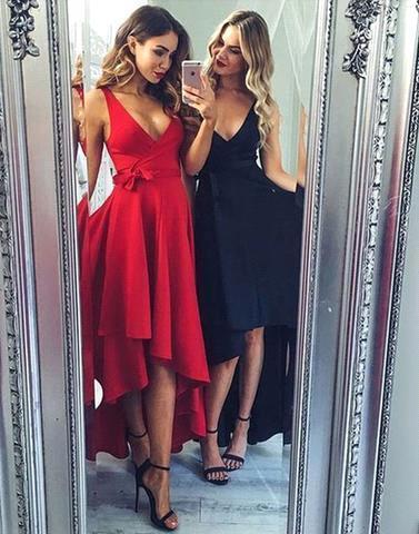 Robe de soirée princesse longueur Hi-Lo | Robe de cocktail princesse col en V