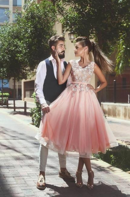 Forme Princesse Longueur cheville Col en V Tulle Robes de soirée 2021 avec Appliques