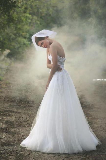Forme Princesse Longueur ras du sol Col en cœur Tulle Robes de mariée 2021 avec Appliques