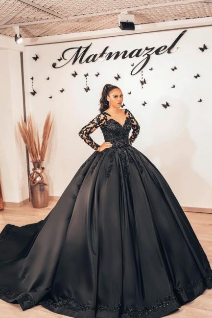 Robes de mariée noires à manches | Robes de mariée princesse en dentelle