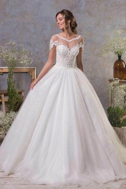 Robes de mariée simples Une ligne   Robe de mariée en tulle