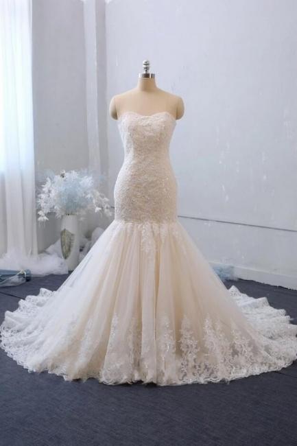 Robe de mariée élégante en dentelle sirène | Robes de mariée pas cher