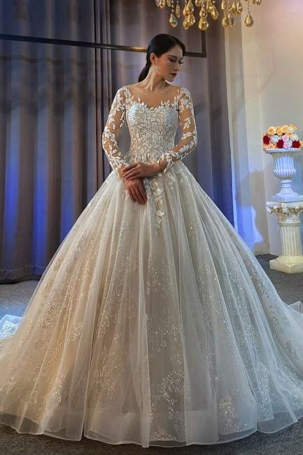 Robes de mariée extravagantes Ligne A | Robes de mariée en dentelle avec manches