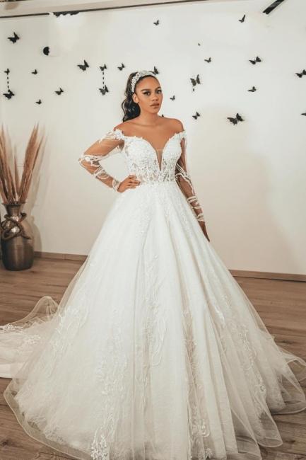 Robes de mariée modernes à manches   Robes de mariée Une ligne en dentelle