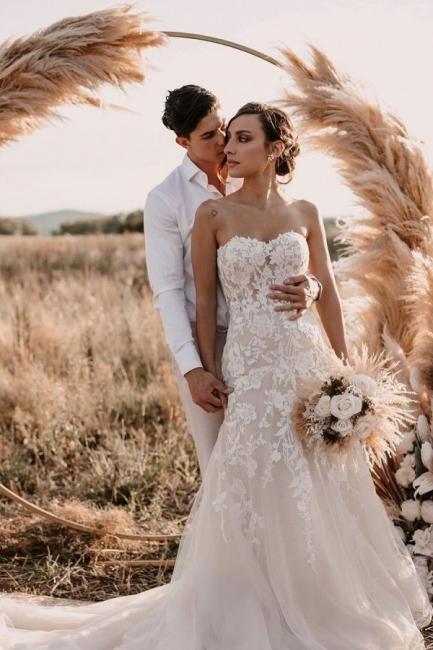 Robes de mariée de créateur sirène   Robe de mariée simple en dentelle