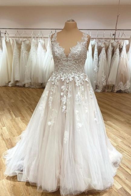 Robe de mariée simple décolleté en V | Robes de mariée en dentelle