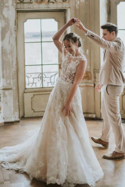 Dentelle de robe de mariée simple | Robes de mariée bohème pas cher