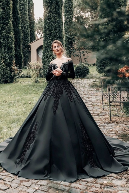Robes de mariée princesse noir   Robes de mariée à manches