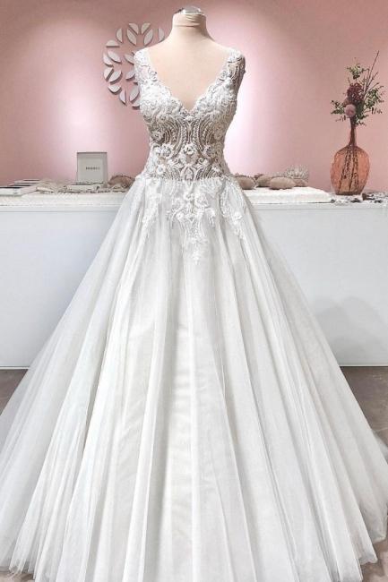 Robe de mariee vintage A ligne en dentelle | Robes de mariee en tulle en ligne