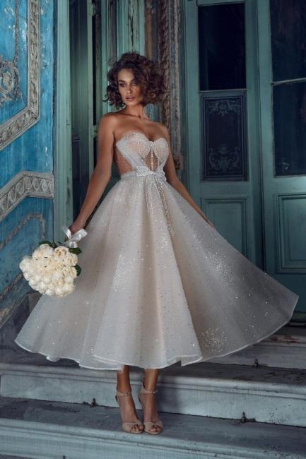 Superbes robes de mariée courtes | Robes de mariée paillettes pas cher