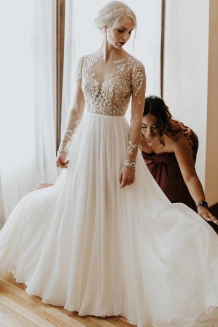 Robe de mariée simple à manches | Robes de mariée une ligne de dentelle