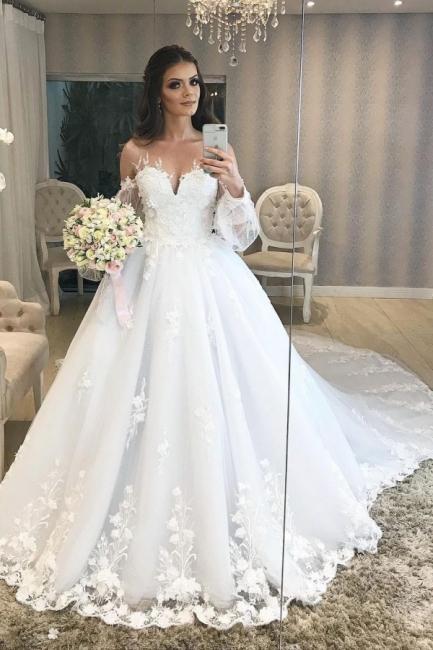 Robe de mariée de créateur Une ligne en dentelle | Robes de mariée à manches