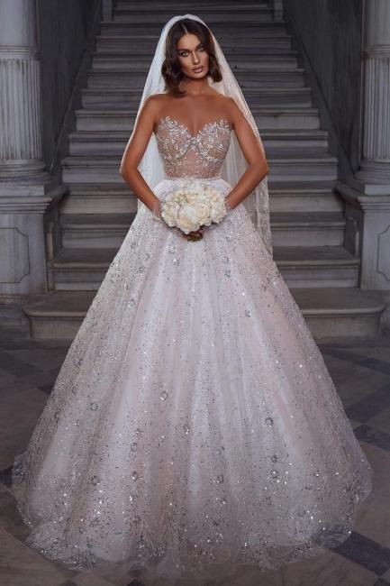 Robes de mariée élégantes paillettes   Robes de mariée Une ligne en dentelle
