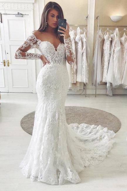 Robes de mariée magnifiques avec des manches   Robes de mariée dentelle sirène