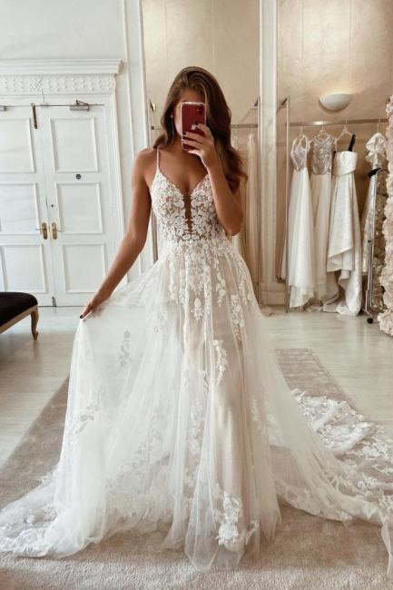 Robes de mariée simples en dentelle   Robes de mariée Une ligne pas cher