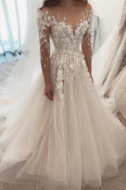 Robes de mariée de créateurs Une ligne de dentelle | Robes de mariée à manches