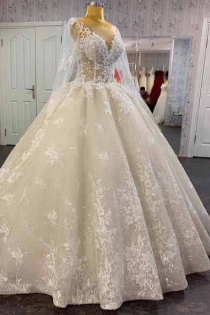 Robes de mariée princesse en dentelle | Robe de mariée à manches