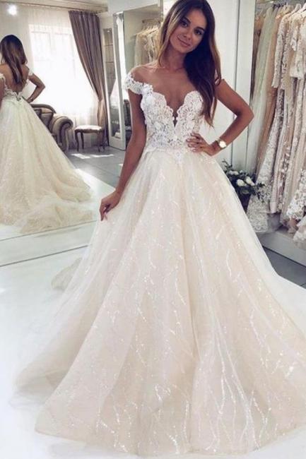 Robes de mariée paillettes   Robes de mariée Une ligne en dentelle