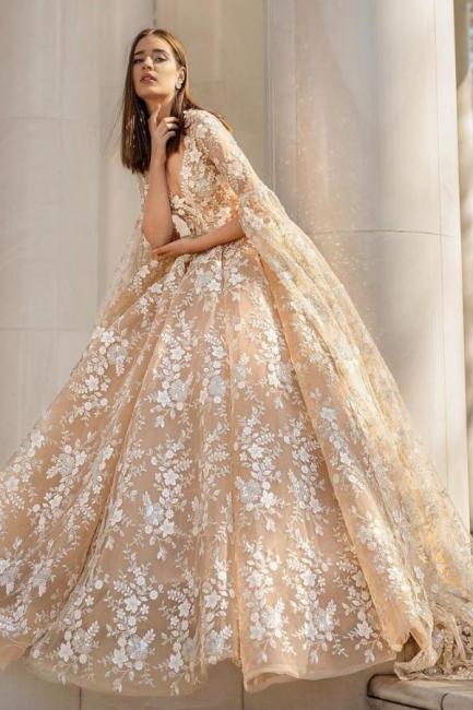 Belles robes de mariée princesse | Robes de mariée en dentelle avec manches